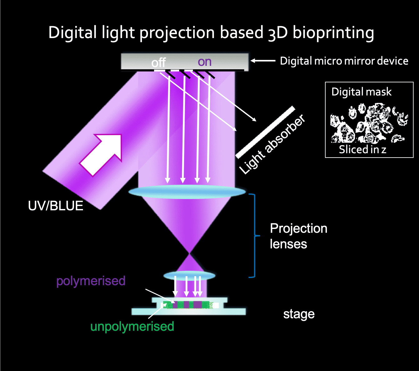 Light projection based 3D bioprinting